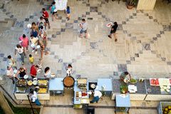 A-la-Carte menu at the Q Aventura Hotel. ANTALYA, TURKEY, 15TH JULY 2018 - Tourists queue up to take food from the A-la-Carte menu at the Q Aventura Hotel during stock photography