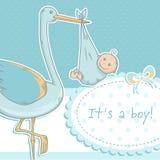 Carte mignonne d'annonce de bébé avec la cigogne et l'enfant Photos stock