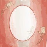 La carte ovale d'invitation avec s'est levée sur le Ba de watercolour Photos libres de droits