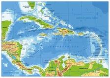 La carte physique des Caraïbes illustration stock