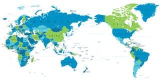 La carte politique Pacifique du monde a centré illustration stock