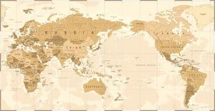 La carte politique Pacifique du monde de vintage a centré Photo stock