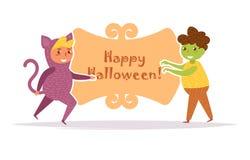 La carte postale avec des enfants dans Halloween costume le vecteur cartoon D'isolement illustration stock
