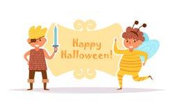 La carte postale avec des enfants dans Halloween costume le vecteur cartoon D'isolement illustration libre de droits