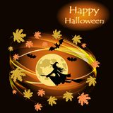 La carte postale avec une sorcière de vol sur un manche à balai en pleine lune, avec l'érable de tourbillonnement part Illustration Libre de Droits