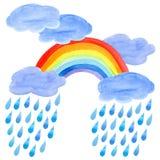 La carte postale d'une pluie se laisse tomber, arc-en-ciel et nuages illustration stock