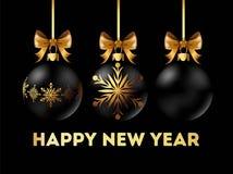 La carte postale 2018 de bonne année avec la décoration élégante d'arbre de Noël avec l'arc d'or du ruban là-dessus a isolé le ve Images libres de droits