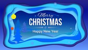 La carte postale de Joyeux Noël et de nouvelle année avec la typographie et un hiver aménagent en parc Couches multi réalistes, d Image stock