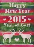 La carte postale de nouvelle année tricotée par vecteur avec des chèvres Image stock