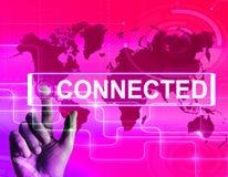 La carte reliée montre se relier de mise en réseau et C international Photographie stock