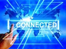 La carte reliée montre se relier et Internet Commun de mise en réseau Images libres de droits
