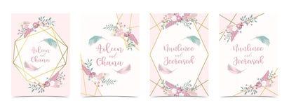 La carte rose d'invitation de mariage d'or de la géométrie avec s'est levée, pousse des feuilles, ruban illustration libre de droits