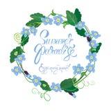 La carte saisonnière de vacances avec le cadre rond de m'oublient pas des fleurs Photographie stock libre de droits