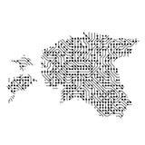 La carte schématique abstraite de l'Estonie du noir a imprimé le conseil, Photographie stock