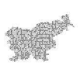 La carte schématique abstraite de la Slovénie du noir a imprimé le conseil, Photo libre de droits