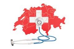 La carte suisse avec le stéthoscope, le concept national de soins de santé, 3D ren illustration stock