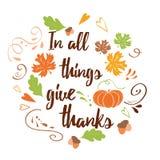 La carte tirée par la main de thanksgiving avec l'érable de potiron part de la bénédiction de famille des textes illustration libre de droits