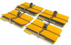 La cartella con la catena ed il lucchetto, dati nascosti, sicurezza, 3d rende Fotografia Stock Libera da Diritti