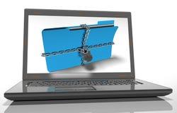La cartella con la catena ed il lucchetto, dati nascosti, sicurezza, 3d rende Fotografie Stock