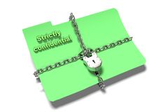 La cartella con la catena ed il lucchetto, dati nascosti, sicurezza, 3d rende Immagine Stock Libera da Diritti