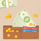 La cartera de cuero de dólares observa por completo monedas y tarjetas de crédito Diseño plano Imagenes de archivo