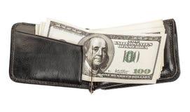 La cartera de los hombres con los billetes de banco Foto de archivo libre de regalías
