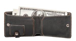 La cartera de los hombres con los billetes de banco Imagen de archivo libre de regalías