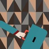 La cartera y el brazo de Hand Holding Colorful del hombre de negocios sacudieron una parte posterior m?s lejana tiene prisa Idea  stock de ilustración