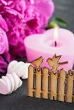 La cartolina con il portone e gli uccelli di legno, peonia fiorisce, candela Fotografia Stock