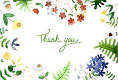 La cartolina con un ornamento della molla dell'acquerello fiorisce Fotografia Stock Libera da Diritti