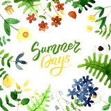 La cartolina con un ornamento della molla dell'acquerello fiorisce Fotografie Stock