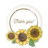 La cartolina d'auguri d'annata naturale con l'iscrizione delle parole ringrazia i girasoli gialli del youwith Stile dell'acquerel royalty illustrazione gratis