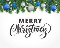 La cartolina d'auguri con la ghirlanda dell'albero di abete, gli ornamenti ed il Buon Natale mandano un sms a Fotografia Stock Libera da Diritti