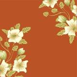 La cartolina d'auguri con i fiori, può essere usata come carta dell'invito per nozze, compleanno e l'altri festa e fondo dell'est illustrazione di stock