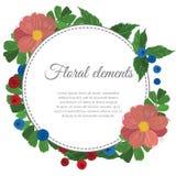 La cartolina d'auguri con i fiori, può essere usata come invito per nozze, il compleanno e l'altro fondo dell'estate di festa Ill Immagine Stock