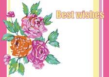 La cartolina d'auguri con i fiori rosa barra lo spazio per testo Fotografia Stock Libera da Diritti
