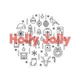 La cartolina d'auguri con la linea sottile rosso di American National Standard delle icone grande esprime Holly Jolly Fotografie Stock