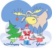 La cartolina d'auguri con Santa, l'alce, albero, presenta un buon anno immagine stock