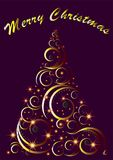La cartolina d'auguri decorativa dell'albero di Natale con il Buon Natale manda un sms a, vector Immagine Stock