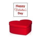 La cartolina d'auguri del giorno del ` s del biglietto di S. Valentino con cuore ha modellato la scatola Fotografie Stock Libere da Diritti