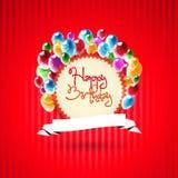 La cartolina d'auguri di buon compleanno con i palloni Vector l'illustrazione Fotografia Stock Libera da Diritti