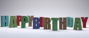 La cartolina d'auguri di buon compleanno 3d rende l'illustrazione 3d Immagini Stock Libere da Diritti