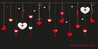 La cartolina d'auguri felice di San Valentino con i cuori d'attaccatura di progettazione del confine vector il fondo Fotografie Stock Libere da Diritti