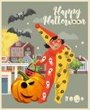 La cartolina d'auguri felice di vettore di Halloween con la Jack-o-lanterna spettrale e Halloween clown illustrazione di stock