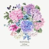 La cartolina d'auguri floreale con l'ortensia ed il giardino di fioritura fiorisce Fotografia Stock Libera da Diritti