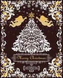 La cartolina d'auguri magica di Natale con carta ha tagliato l'albero bianco floreale di natale, gli angeli dell'oro e la struttu royalty illustrazione gratis