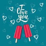 La cartolina d'auguri ti amo con gelato Iscrizione disegnata a mano I royalty illustrazione gratis