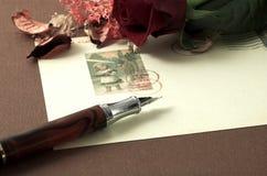 La cartolina dell'annata ed è aumentato Fotografia Stock