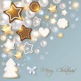 La cartolina di Buon Natale con il pan di zenzero & i biscotti su un bokeh blu annebbiano il fondo illustrazione vettoriale