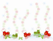 La cartolina di Natale caric il sistemaare l'albero del regalo del blocco per grafici dei pattini Immagini Stock